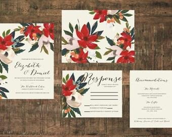 Printable Floral Wedding Invitation Suite   Red Wedding, Wedding Set, Wedding Invitations, Ivory, Calligraphy