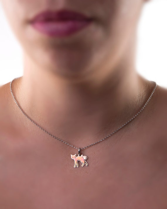Cat necklace, kitty cat pendant, kitten necklace, pet lover gift, cute animal, cat lover gift, kawaii necklace, cat jewelry, pink gold