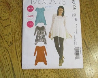 BOHO Gypsy Tunic Top w/ Long Sides - EASY Knit T Shirt - (8 - 10 - 12 - 14 - 16) - UNCUT Sewing Pattern McCalls 6398