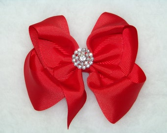 "Red Hair Bow / 5"" BIG Bow / Rhinestone Cluster / Flower Girl / Photo Prop / Pageant / Infant / Baby / Girl / Toddler / Custom Boutique"