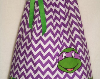 Teenage Mutant Ninja Turtle Pillowcase Dress / Donatello / TMNT / Super Hero / Birthday / Infant / Girl / Baby / Toddler /Boutique Clothing