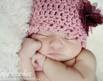 """Baby Crochet Hat Pattern: """"Fairy Dust"""" Crochet Cloche, Fabric Flower"""