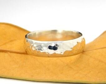 Men's Wide Hammered Wedding Band: Sterling Silver