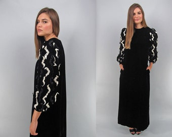 Vintage 80s Velvet Dress, Maxi Tent Dress, Oversized Dress, Avant-Garde Dress, Vintage David Brown Dress Δ size: xs / sm