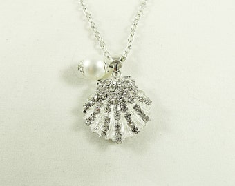 Silver Pendant Necklace,  Rhinestone Shell With White Pearl,  Womens Gift  Handmade