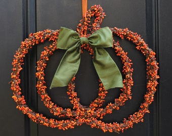 Pumpkin Wreath - Fall Wreath - Berry Wreath - Halloween Wreath - Choose Bow - Ready To Ship
