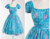 1950s Vintage Party Dress • One More for My Baby • Pink Turquoise Floral Chiffon Vintage 50s Dress by Jonathan Logan Size XSmall