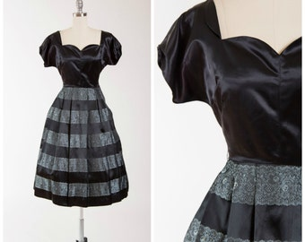1950s Vintage Dress • Sweetheart Chic • Black Satin Lace Print Vintage Early 50s Dress Size Small