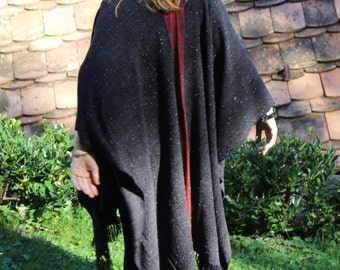 Handwoven Poncho Coat in Graphite Grey and Red Stripes Wool - OOAK