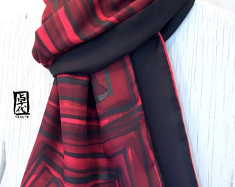 Silk Scarf Men, ETSY, Gift for Men, Mens Scarf Handpainted, Reversible Scarf,  Red and Black Zen Maze Scarf, Silk Scarf Large, 14x72 inches.