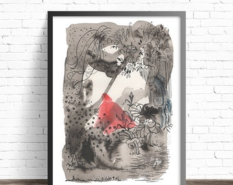 Black and white art prints. Book llustration Print. Red Riding Hood. Childrens book art print. Childrens art prints. Fairytale art