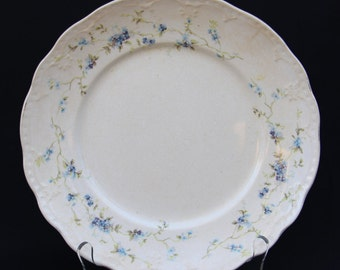 Set of 4, Antique Buffalo Pottery Dinner Plates, Forget-me-not Pattern