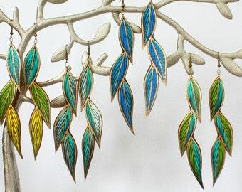 Spring Leaf Earrings, Boho Turquoise Long Earrings, Gifts for Her