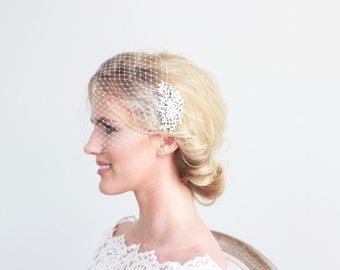 White or Ivory Birdcage Veil with Crystal Headpiece Bridal Wedding Accessories