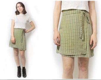 90s Inspired Pastel Yellow Plaid Rayon Wrap Skirt Handmade 90s Style Grunge Pastel Goth XS S M