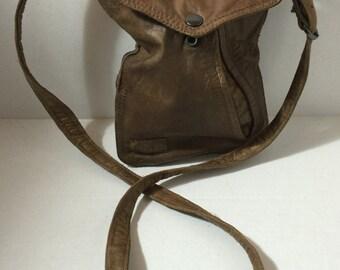 Repurposed Brown Bomber Leather, Bag Crossover, Adjustable Shoulder Strap, Slanted Side Pocket, Two Inner Pocket, Brown and Black Lining