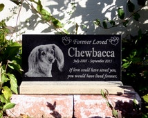 Pet Headstone Memorial Granite Pet Grave Marker & Base Stand Customized with YOUR Pets Photo With Base Stand