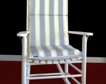 Rocking Chair Cushion - Lulu Stripe Grey / Yellow, Ready to Ship