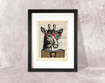 Nerdy Giraffe print-giraffe dictionary print-Funny animal print-giraffe print-giraffe wall art-animal poster-dorm print-NATURA PICTA-DP024