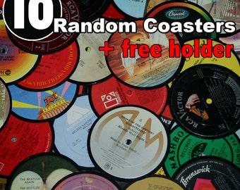10 Vinyl record coasters AND holder (random set)