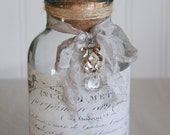 Decorative glass bottle with vintage french label upcycled bottle repurposed bottle home decor french decor by My Sweet Maison