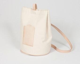 Bucket Canvas Bag - beige natural leather - RBP02011