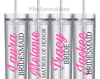 Set of 5: Bridesmaid Tumblers // Personalized Bridesmaid Gifts // Bridal Party Gifts // Maid of Honor Gift // Bachelorette Party Weekend