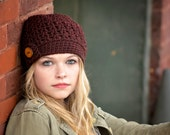 Crochet Beanie Hat / Buton Tab Hat / Women's Hat / Crochet Hat / Fall Fashion / High Fashion