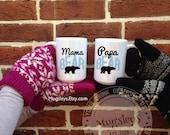 Mama Bear Mug and Papa Bear, Coffee Mug Gift Set, Large 15 oz Mugs, Gifts for mom and dad, Wedding Gifts for Parents, Grandparents Mugs