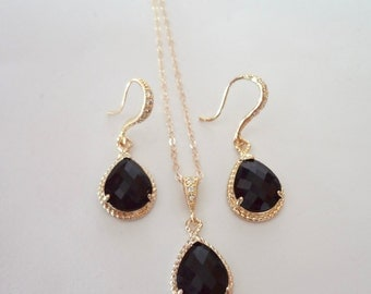 Black and gold Jewelry set ~ Black earrings and necklace set-Gold filled-14k Gold over Sterling ear wires-High quality- Wedding jewelry set
