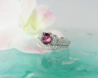 Pink Tourmaline Engagement Ring Sterling Silver, Matching Wedding Band, Pink Tourmaline,Natural Gemstone