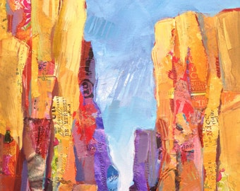 Rocks on the Oregon High Desert, original landscape painting in mixed media