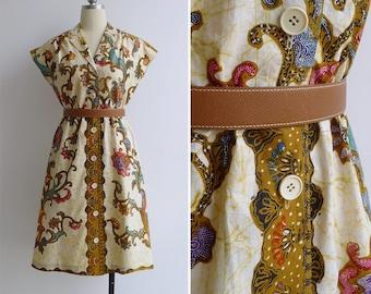 Vintage 80's Batik Beauty Retro Slant Sleeve Shirtwaist Dress S or M