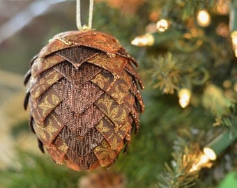 Handmade Ribbon Pinecone Christmas Ornament Brown Gold Fleur de Lis Ribbon Ball One of a Kind Holiday Gift for Friend Ready to Ship