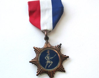 Drum Majorette Medal, 1950s Vintage, Bronze Star, Sports Medal, Award, School Spirit, Marching Band