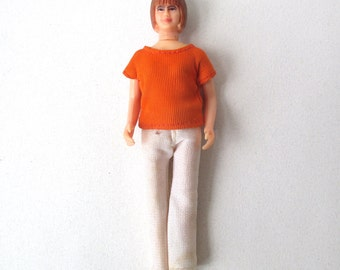 1960s Dollhouse People, Woman, Mom, white pants, orange top, doll house girl, poseable toy lady, 6 inch tall