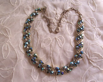 Vintage Peacock Colors Aurora Borelais Rhinestone Leaves Necklace Vintage Costume Jewelry Signed Electric Blue Green Teal Cocktail Necklace