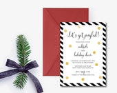 Black and Gold Holiday Cocktail Party Invitation, Christmas party invitation, let's get jingled!, PDF, Printable, DIY Christmas Party Invite