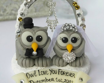 Owl bling cake topper, love bird wedding cake topper with snow base, arch and banner, winter wedding