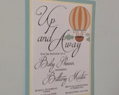 5 x 7 Up and Away Hot Air Balloon Custom Baby Shower Invitation Triple Layered with Envelope