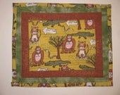 Quilted  Placemat -  Safari Animals - Tiger Gorilla Snake and Crocodile -   Kids snack mat