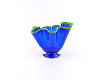 Blue Hand Blown Glass Bowl - Art Glass Bowl