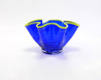 Cobalt Blue Blown Glass Bowl