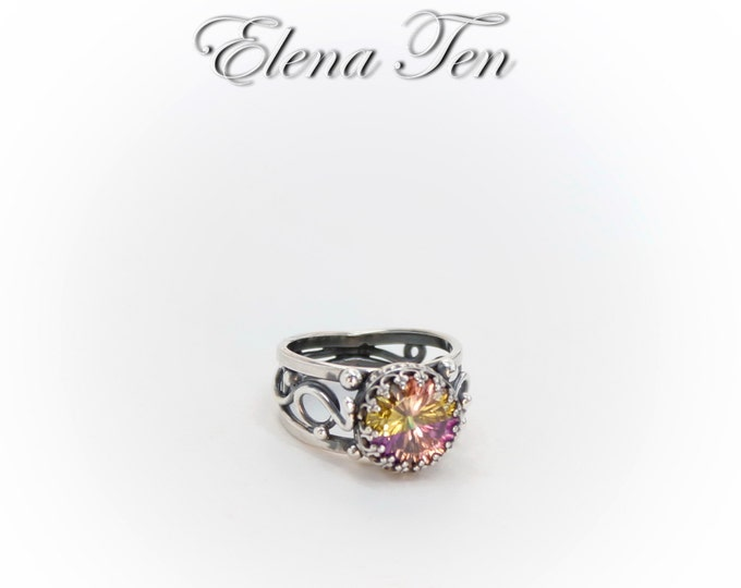 Multicolor Ring Unisex Ring Amethyst Ring Pink Peach Ring Sterling Silver Ring For Women Mens ring Antique Ring Wedding ring Custom ring