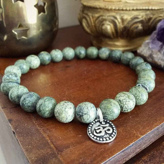 Mens Om Bracelet - Serpentine Bracelet for Men with Hematite and Silver Charm, Green Stone Mala Beads