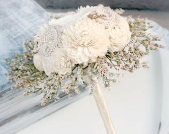 Natural Sola Flower Bridesmaid Bouquet // Cream, Ivory, Dried Flowers, Burlap Flower, Bridesmaids, Small, Bridal Bouquet, Wedding Bouquet