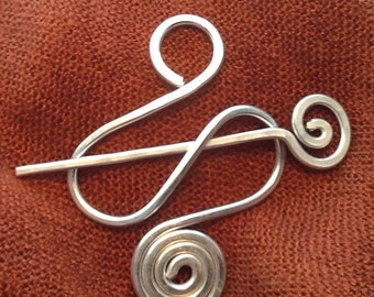 Sturdy Silver BROOCH, Hair Pin or Shawl Pin made with Aluminum Wire - Elegant and Decorative Pin/Brooch to gift on December
