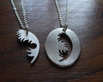 Best Friend Silver Feather Pendants, Birds of a Feather Flock Together