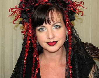 The RED DEATH Day of the Dead Glittering Headdress Hair Adornment ooak