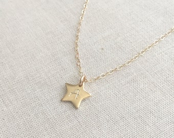 Gold Star Initial Necklace, Gold Star Necklace, Personalized Charm Necklace, Birthday Gift, Best Friends Gift